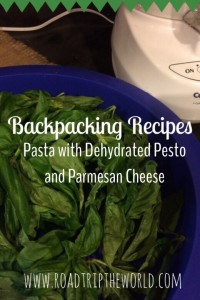 Backpacking Dinner- Pasta With Dehydrated Pesto and Parmesan Cheese